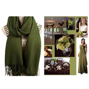 Olive Green Pashmina Scarf Shawl L / Bridesmaid Shawl / Wedding Favour / Spring Summer Wedding /