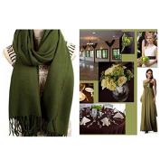 Olive Green Pashmina Scarf Shawl L / Bridesmaid Shawl / Wedding Favour / Spring Summer Wedding /