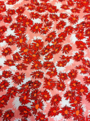 Small Daisey Pattern on Stretch Bulgari Knit Jersey Polyester Spandex Fabric By the Yard