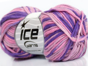 Lot of 8 Skeins ICE YARNS Natural Cotton Colour Pink Shades Lilac