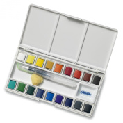 Jerry Q Art 18 Assorted Water Colours Travel Pocket Set- Free Refillable Water Brush With Sponge - Easy to Blend Colours - Built in Palette - Perfect For Painting On The Go JQ-118