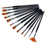 Tegg Paint Brush Set Acrylic 12pcs Professional Paint Brushes Artist Nylon Hair Paint Brush Set for Watercolour Oil Acrylic Painting Face Painting Brushes