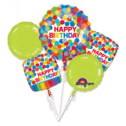 Primary Polka Dot Rainbow Happy Birthday Foil Balloon Bouquet, Multicolor