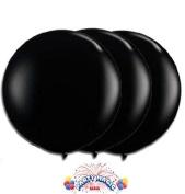 90cm Latex Balloon Black (Premium Helium Quality) Pkg/3 by PMU TOY