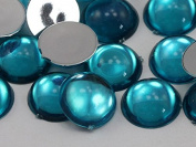 15mm Blue Aqua H122 Flat Back Acrylic Round Cabochon High Quality Pro Grade - 30 Pieces