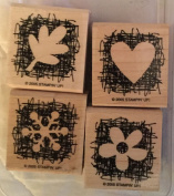"2005 Stampin' Up! ""Made From Scratch"" Wood Mounted Rubber Stamps Set Of 4"