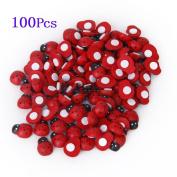 ETHAHE 100Pcs Wooden Beetle Ladybug Sponge Sticker Ladybug