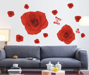 Red Rose Flowers Butterflies Wall Decal Home Sticker Paper Removable Living Room Bedroom Art Picture DIY Mural Girls Boys Kids Nursery Baby Playroom Decoration + Gift Colourful Butterflies