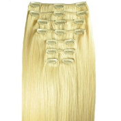 FULL HEAD of 100% Human Hair, Clip-in Hair Extensions - 46cm , Deluxe, Quality A Remy Hair. GREAT VALUE, 125 grammes of remy hair per set (135 grammes set weight) - TRIPLE WEFT.