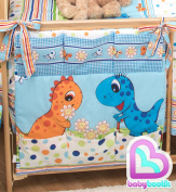 Nursery Baby Cot Tidy | Organiser for Cot | Cotbed | Cot Bed | ANIMAL PRINT - DINO BLUE