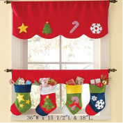Zerowin Christmas Socks Window Valance,Santa Socks and Smow Pattern Design,Pack of 2
