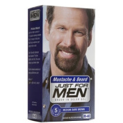 Just for Men Brush-In Colour Gel for Moustache Beard & Sideburns Medium-Dark Brown M-40