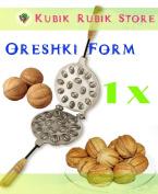 16 Sweet Russian Oreshki Nutlets Metal Mould + Recipe!