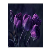 Creative Beautiful Modern Abstract Artwork Canvas Wall Art - Pretty Deep Purple Tulip Flower Canvas Print 20cm x 25cm Inch - Stretched and Framed Painting Artwork Home Decor Wall Living Room Office Canvas Art - 100% Woven Cotton Canvas Print