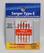 Klasse Serger Type E Overlock Size 80/12 Needles 5 pack