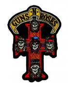 "7.9cm x 11cm Guns N"" Roses Band Cross Hard Rock DIY Applique Embroidered Sew Iron on Patch"