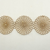 Gold Metallic Floral Flower Lace trim by the yard - Bridal wedding Lace Trim wedding fabric Millinery accent motif scrapbooking crafts lace for baby headband hair accessories dress bridal accessories by Annielov trim #72
