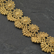 GOLD Metallic Lace Trim for Bridal, Costume or Jewellery, Crafts and Sewing, 3.2cm by 1 Yard, LP-MX-454