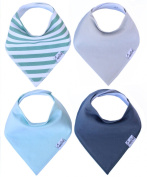 Baby Bandana Drool Bibs for Boys Oxford Set 4 Pack of Unisex Absorbent Cotton Modern Baby Gift Set for Boys By Copper Pearl