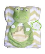 Buddies Cuddly Animal Soft Baby Blankets- Frog Sage