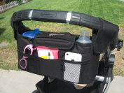 Baby Stroller Organiser Converts to Nappy Bag or Car Caddy Rip-Stop Nylon Has 2 Insulated Bottle Holders and Mesh Storage Compartments