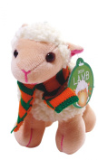 14cm Irish White Lamb with Scarf & Shamrock Patch Soft Toy