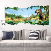 EMIRACLEZE Christmas Gift Holiday Shopping Jurassic Park Dinosaur River Forest Tree Removable Mural Wall Stickers Wall Decal for Children Home Decor