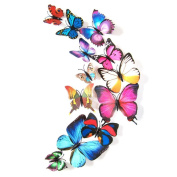 Blue 24PCS 3D Butterfly Wall Stickers Decor Art Decorations 3 size