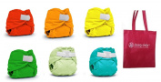 Rumparooz Newborn Cloth Nappy Covers, 6 pack, Gender Neutral Colours with Reusable Dainty Baby Bag Bundle