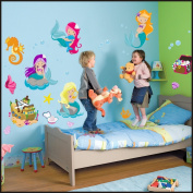 Underwater World, ship, sirens wall Stickers Kids Children Room Wall Stickers Decal Wall Art 918