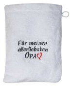 "Wash cloths Wash mitt with beautiful Embroidery ""FOR MEINEN MOST BELOVED GRANDDAD"" NEW"