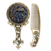 IRISMARU Vintage Antiqued Mini Copper Phoenix Mirror with Comb Set - Random Style by IRISMARU