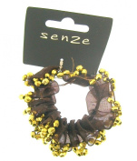 Bun ring scrunchie in brown and gold beading