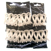 Pack of 6 large white criss cross hair dressing clamps