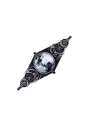 Restyle Moon Geometry Gothic Full Moon Glass Dome Barrette Hair Clip Black Silver