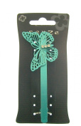 Metalic Teal Large Butterfly Hair Barrette with gem stones