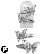 Banana Clips Butterfly Silver Pack of 2