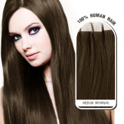 Melodylocks 41cm Tape in Remy Human Hair Extensions 20 Pieces(pcs), 40g, Straight #4 Medium Brown