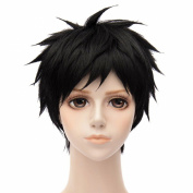 Black Short Unisex Haircut Cosplay Fancy Party Anime Full Hair Synthetic Wigs
