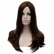Dark Brown Straight Haircut Wigs Women Long Party Club Costume Resistant Wig