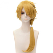 Golden Yellow Cosplay Party Full Synthetic Braided Hair Long Women Anime Wigs