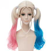 Harleen Quinzel Side Ponytail Gradient Curly Wavy Long Cosplay Wigs Anime Hair