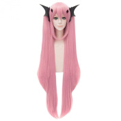 Krul Tepes Women Pink Long Wigs Cosplay Anime Straight Full Bangs Party Haircut