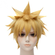 Naruto Golden Blond Short Straight Party Cosplay Anime Full Heat Hair Wigs
