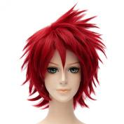 Naruto Sasori Red Short Wavy Cosplay Full Wigs Cosplay Costume Resistant Haircut