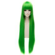 Women's Cosplay Wigs Green Straight Long Bangs Anime Party Resistant Haircut Wig