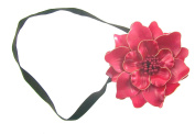 Deep Pink Leather cut Flower hair elastic headband