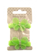 CARD OF 2 Mini Girls butterfly Hair Ponios in green