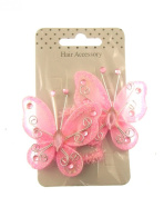 Pack of 2 large net butterly stretch ponios in Pink with gems