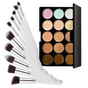 Tonsee® 15 Colours Concealer Contour Palette Kit w 10PCS Bamboo Brush Face Makeup Cream